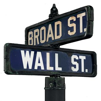 [NEW YORK -- WALL ST.] Wall St. and Broad St. Original post-top style intersection street sign.  Late-19th to early-20th Century.